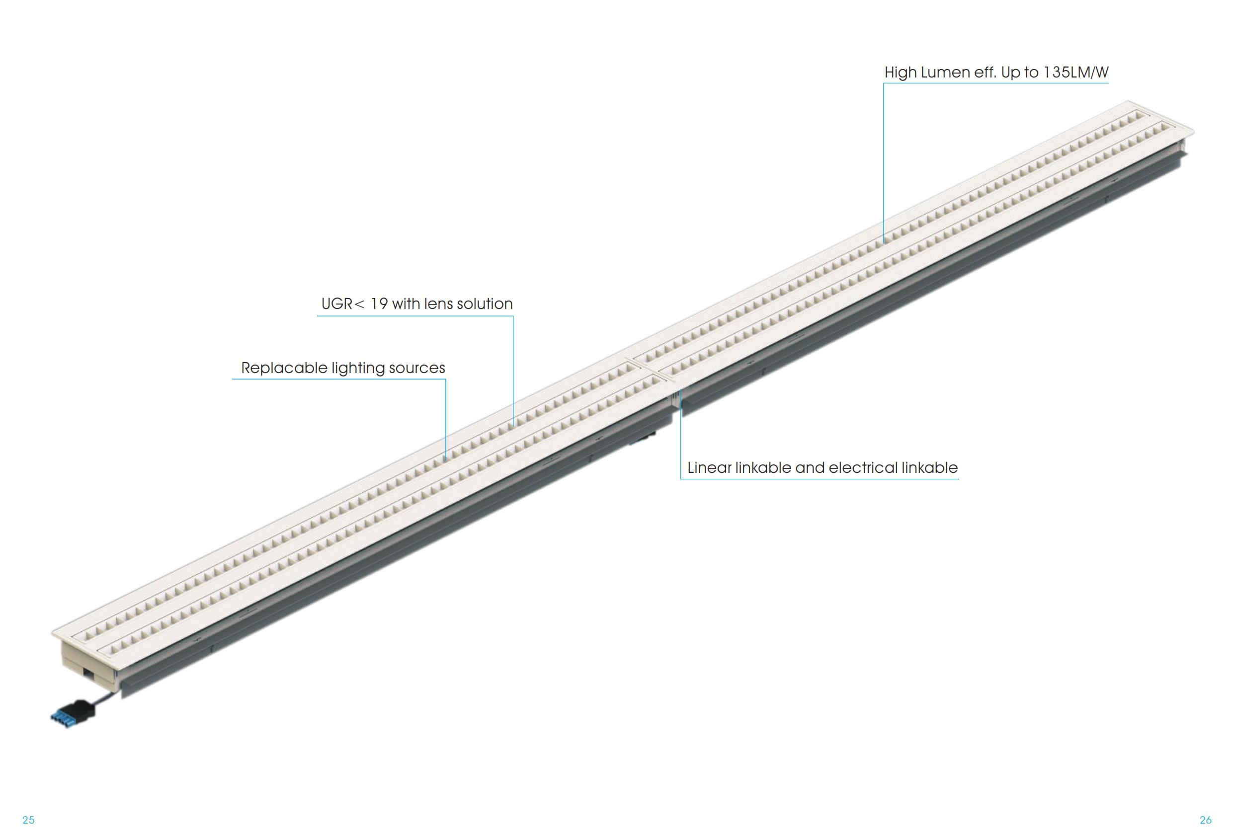 Recessed LED ceiling fixture series Ruby